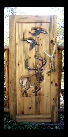 Door with elk and geese, leather-wrapped antler handle